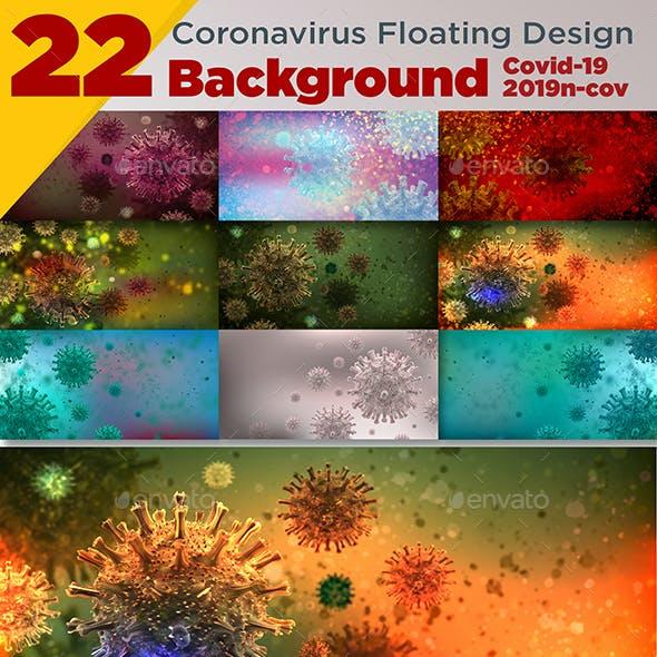 22 Coronavirus Floating Design Background