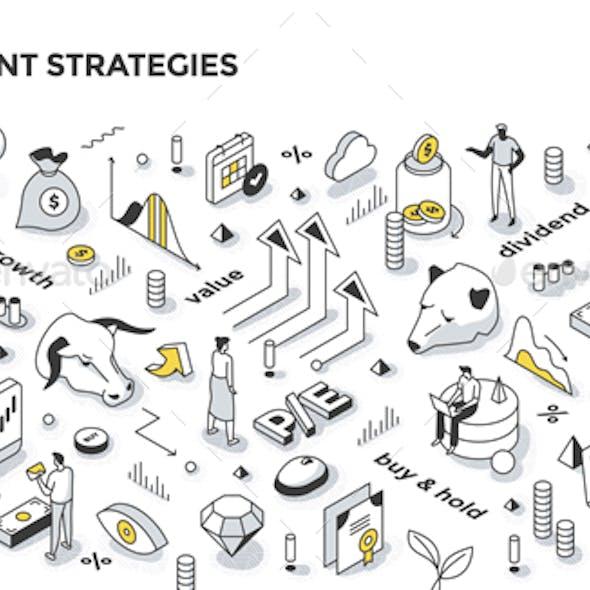 Investment Strategies Isometric Outline Illustration