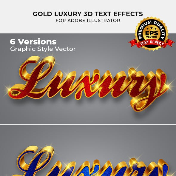 Gold Luxury 3d Text Effect for Illustrator