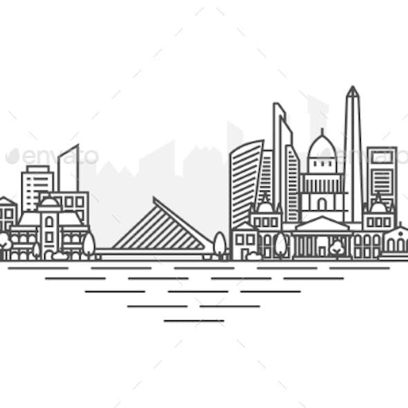 Buenos Aires Argentina Architecture Line Skyline