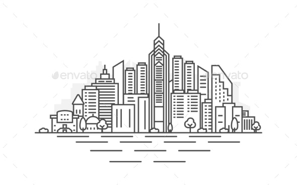 Philadelphia, Pennsylvania Architecture Line - Buildings Objects