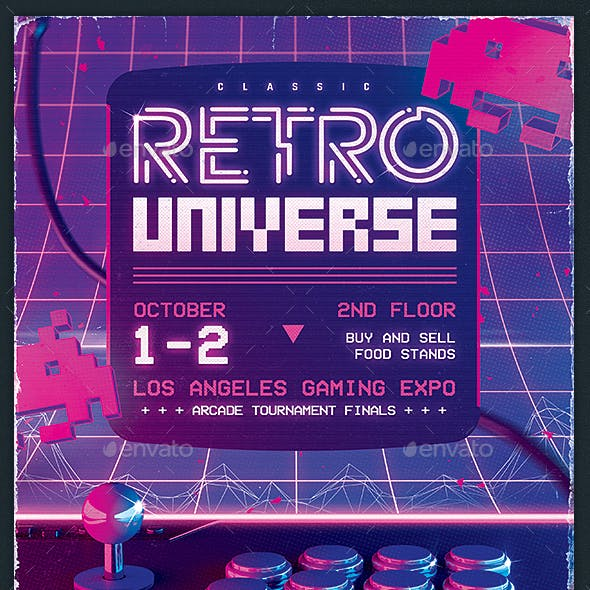 Retro Gaming Flyer Classic Arcade Game Template