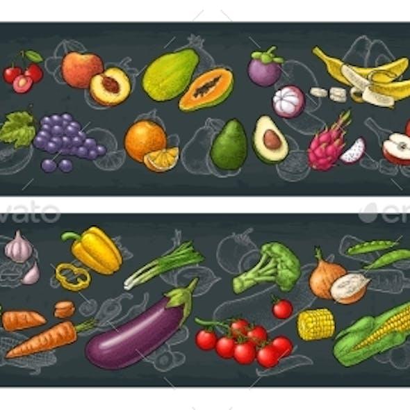 Set Tropical Fruits Vector Black Vintage