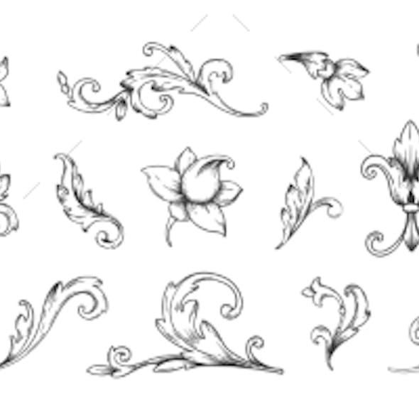 Baroque Engraved Victorian Floral Ornamental