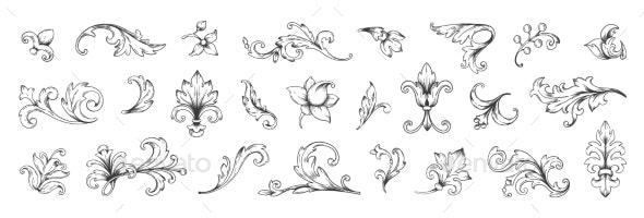 Baroque Engraved Victorian Floral Ornamental - Flourishes / Swirls Decorative