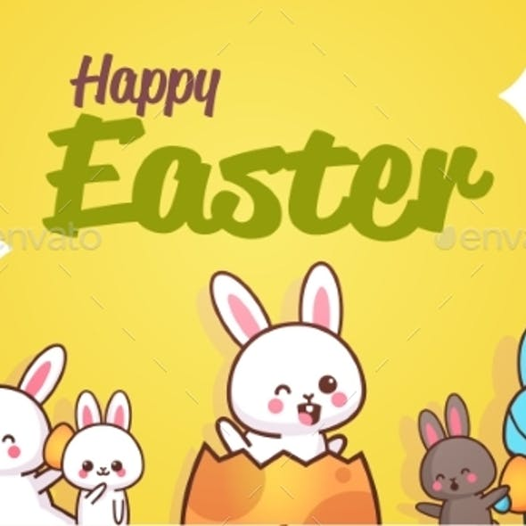 Happy Easter Greeting Card with Rabbits