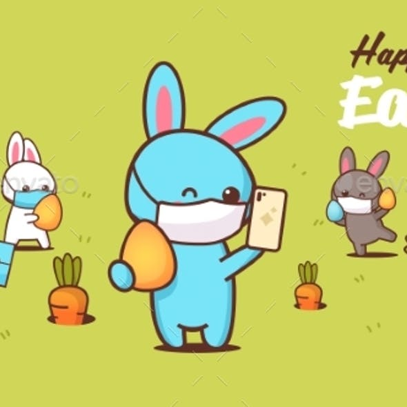 Happy Easter Greeting Card with Rabbits Wearing Masks