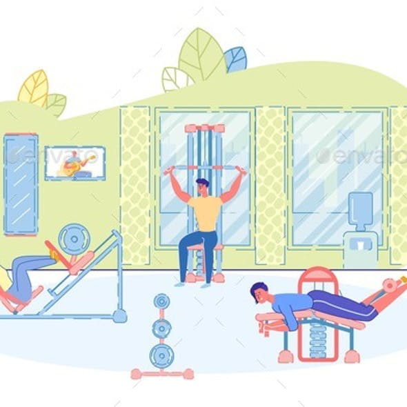Strength Training Zone in Fitness Club and People