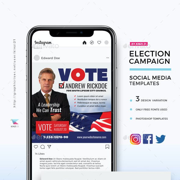 Election Campaign Social Media Templates