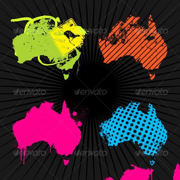 4 x Grunge Maps of Australia