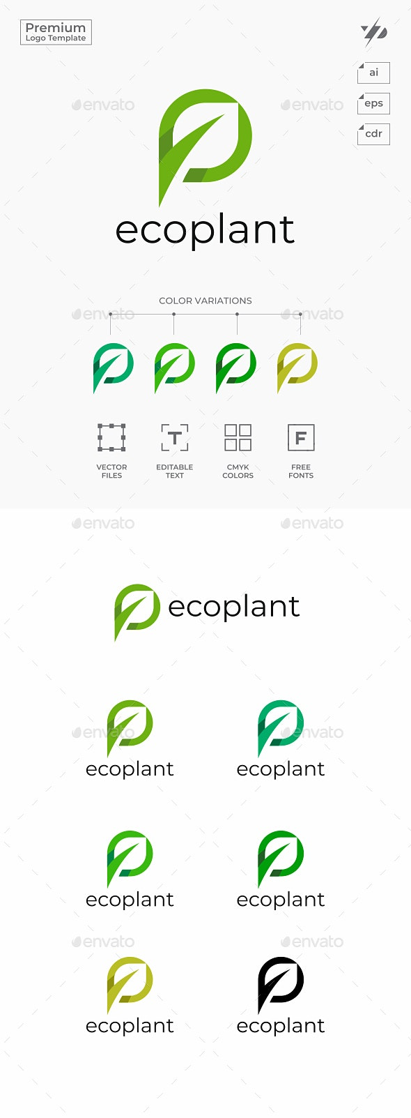 Leaf Letter P - Nature Logo Templates
