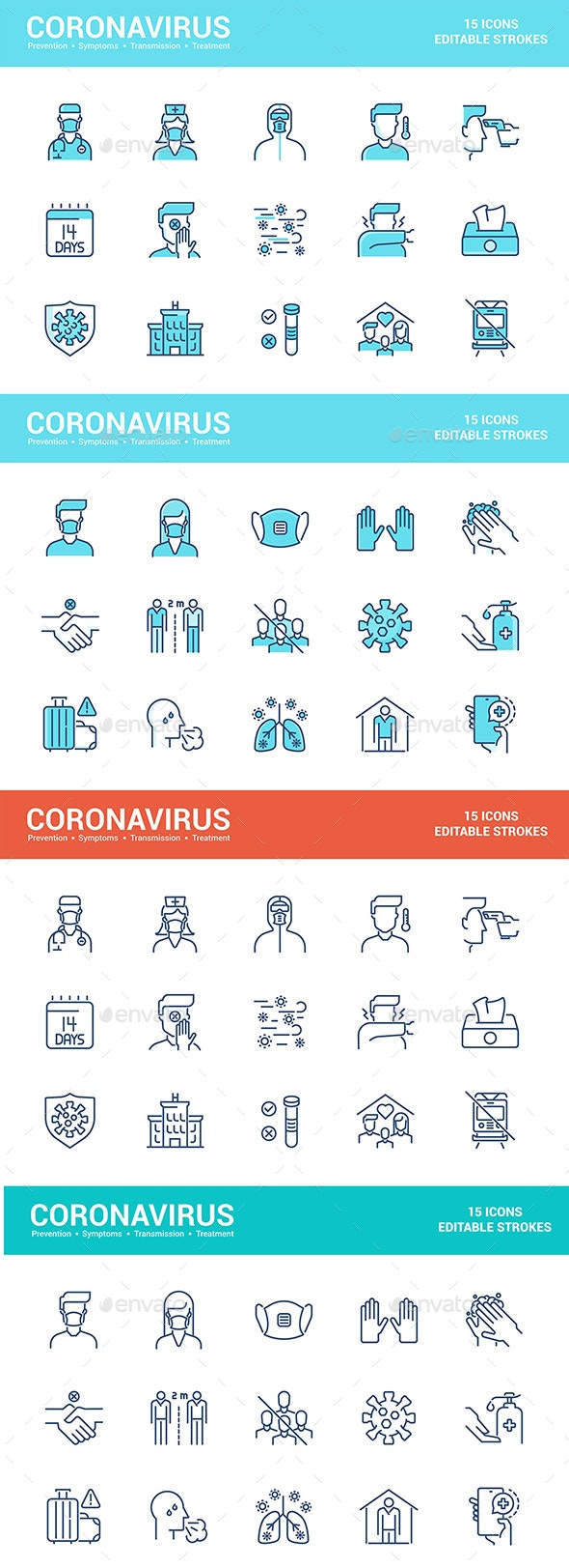 Simple Set of Coronavirus Protection Color Line Icons - Icons