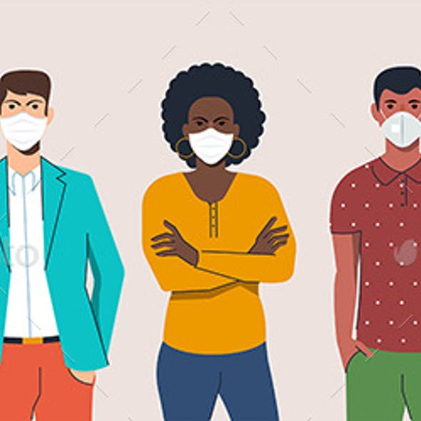 Men and Women Wearing Protection Mask