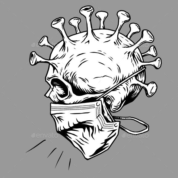 Skull Face in Medical Face Mask Vector - Health/Medicine Conceptual