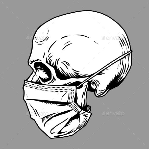 Skull Face in Medical Face Mask Vector