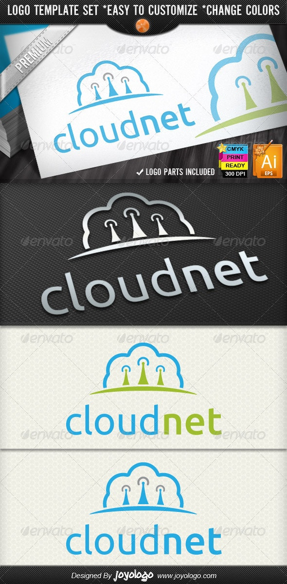 Wireless Networking Cloud IT Business Logo Designs - Objects Logo Templates