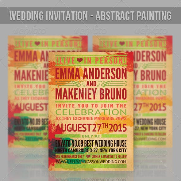 Wedding Invitation - Abstract Watercolor Painting