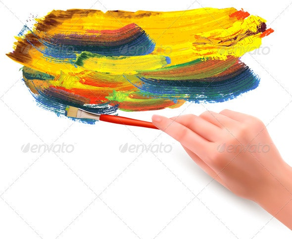 Abstract color background with hand  Vector illust - Backgrounds Decorative