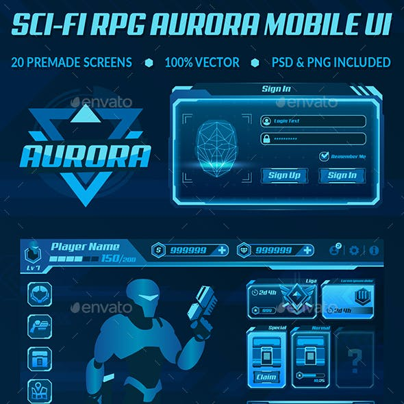 Sci-Fi RPG Aurora Mobile UI