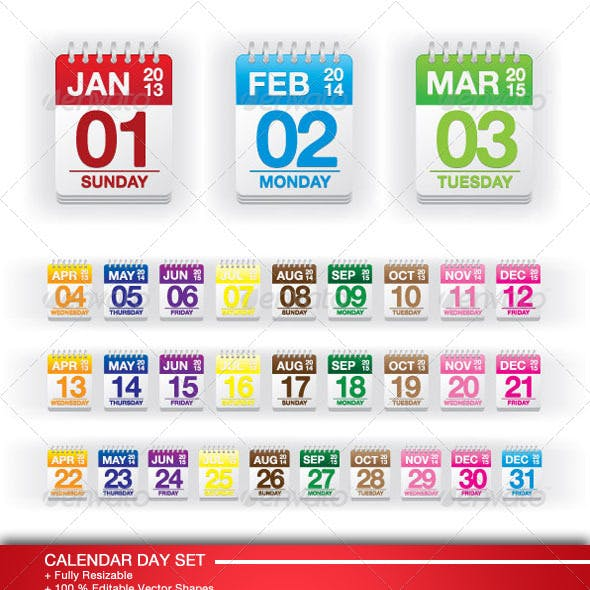 Colorful Calendar Day Set