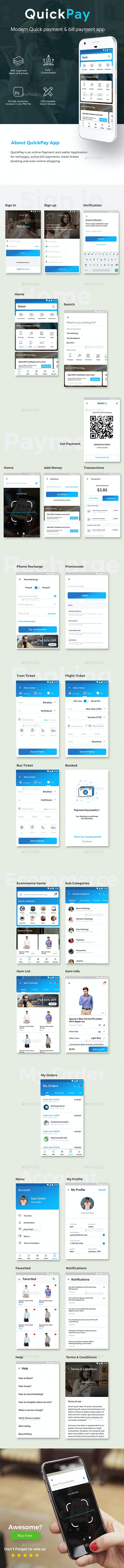 Online Payment, Recharge, Booking & Bill Payment App UI Set | QuickPay - User Interfaces Web Elements