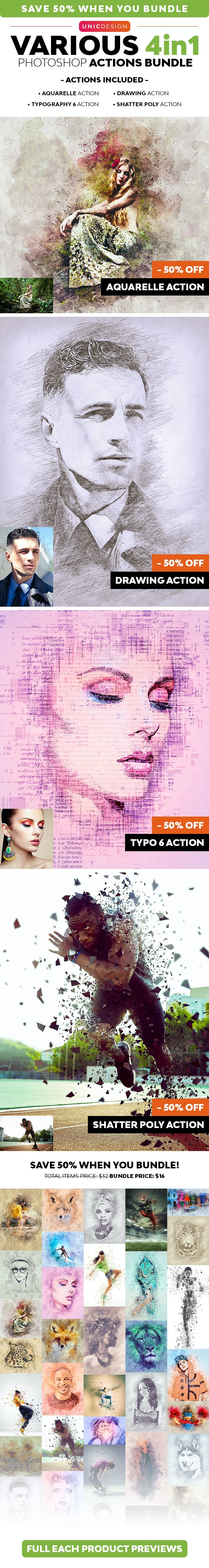 Various 4in1 Photoshop Actions Bundle