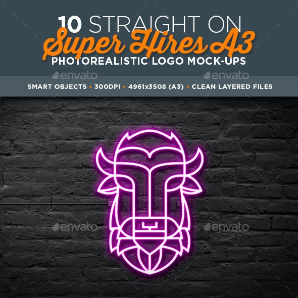 10 Photorealistic A3 Logo Mock-Ups – Straight On