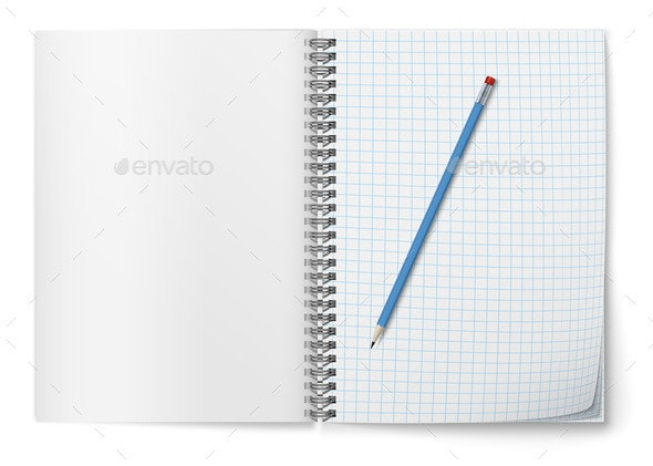 Realistic Vector Open Horizontal Spiral Notepad - Man-made Objects Objects