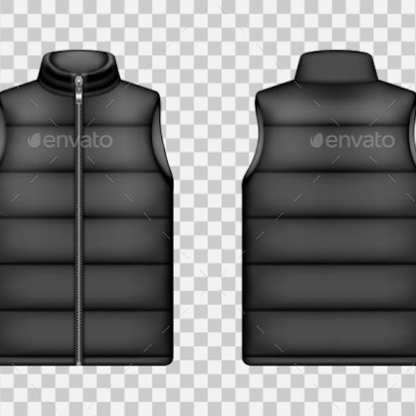 Black Sleeveless Puffer Jacket Down Vest Mockup