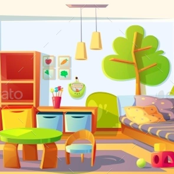 Kids Bedroom, Empty Child Room Indoors Interior