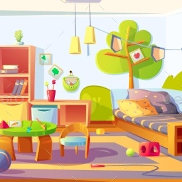 Mess in Kids Room Messy Child Bedroom Interior