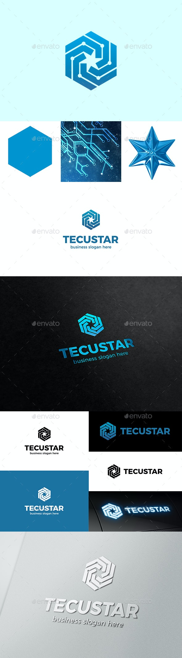 Tech Hexagon and Star Form Inside - Vector Abstract