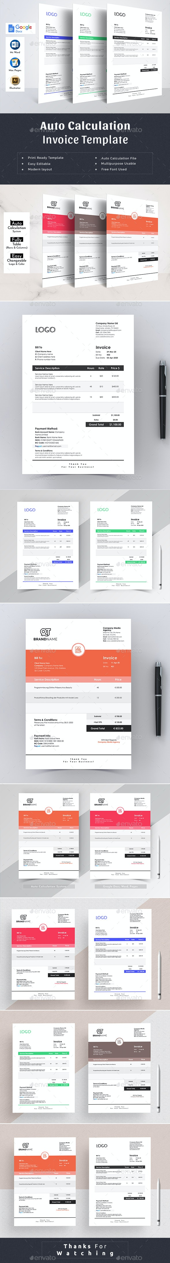 Clean Ecommerce Auto Calculation Invoice Template Word Apple Pages Google Docs