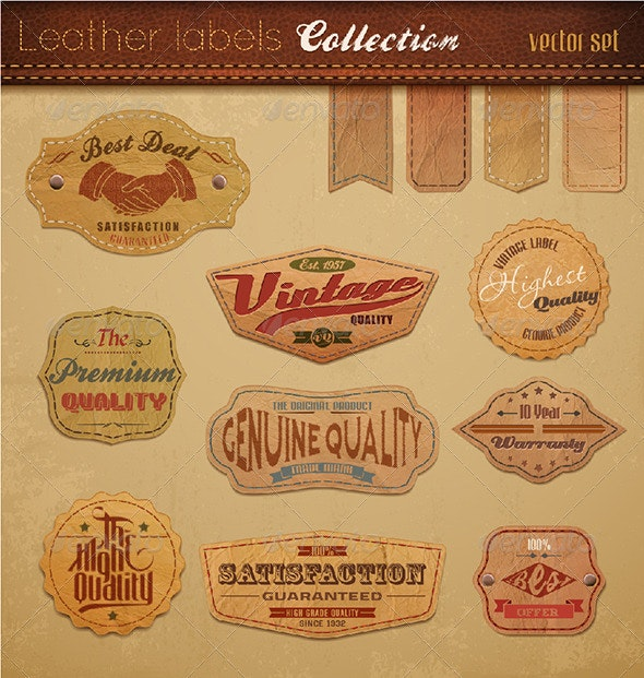 Leather Labels Collection. Vector Illustration.  - Retro Technology