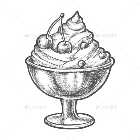 Sketch Ice Cream with Cherry in Sundae Bowl Cup
