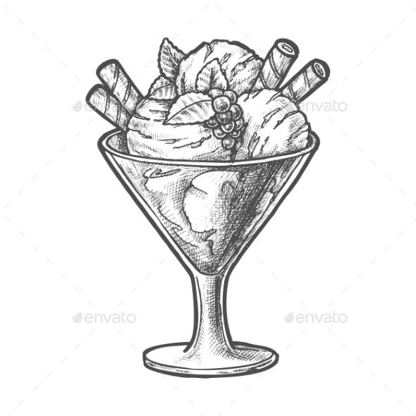 Ice Cream Scoops and Berry Sundae Dessert