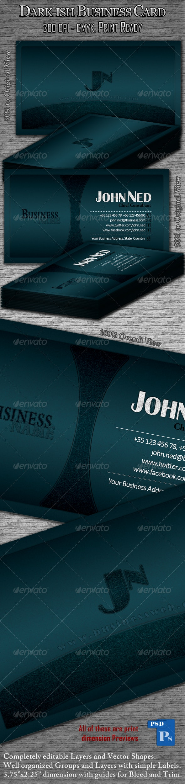 Dark-ish Business Card - Corporate Business Cards