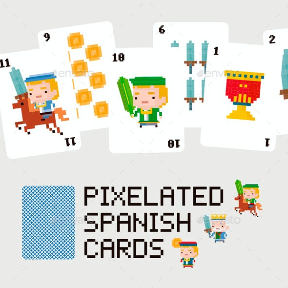 Pixelated Spanish Cards