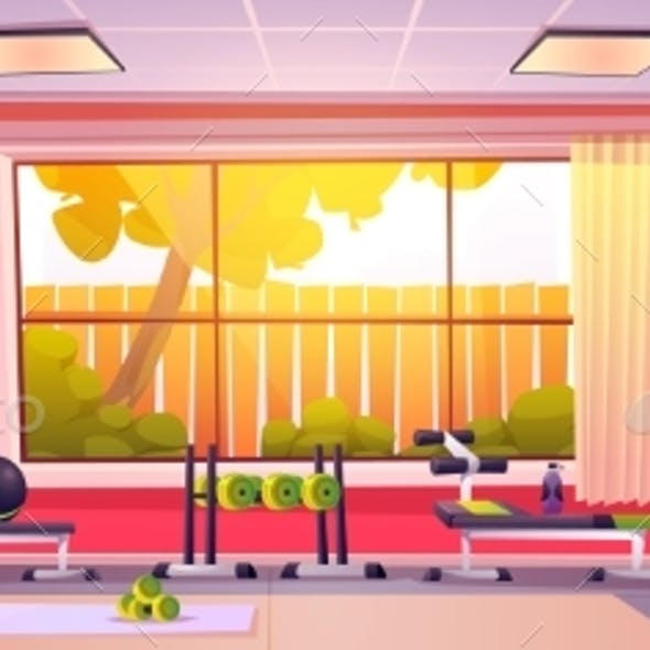 Gym at Home, Empty Room with Sports Equipment
