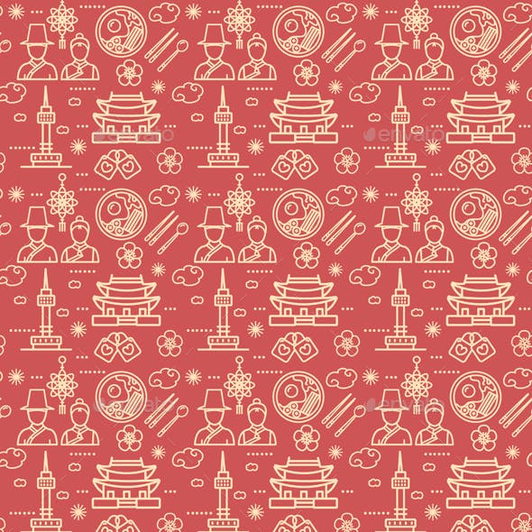 Korea Signs Seamless Pattern Background. Vector