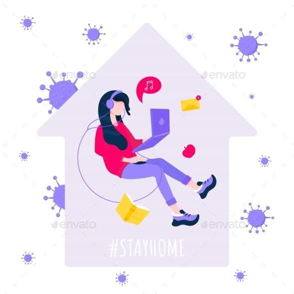 Stay at Home Hashtag Social Media
