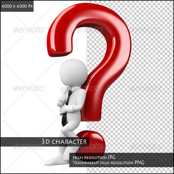 3D White People with a Question - Characters 3D Renders