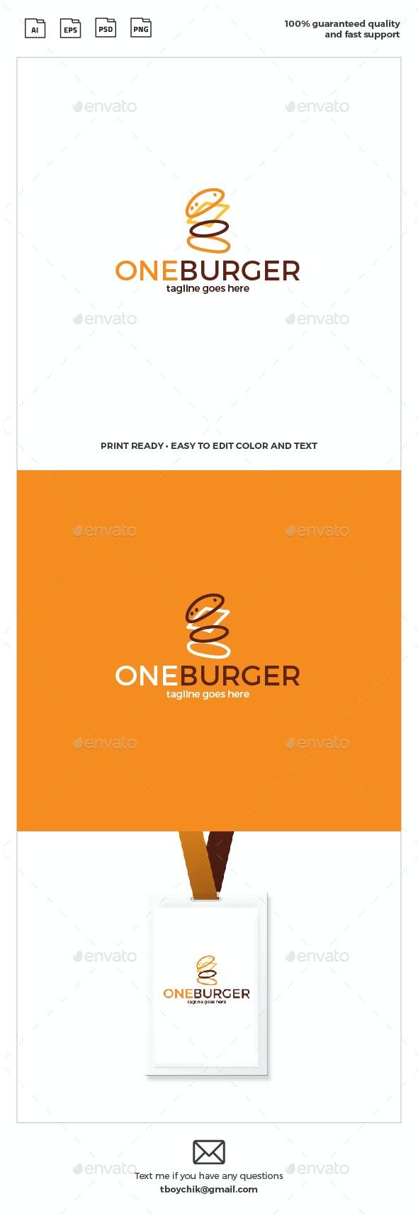 One Burger Logo - Food Logo Templates