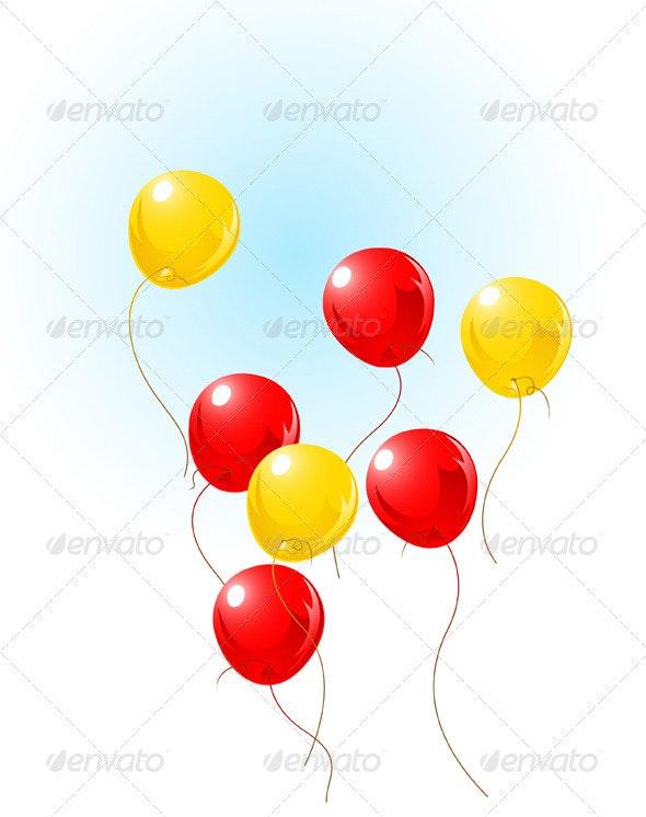 Balloons Flying on Sky - Birthdays Seasons/Holidays