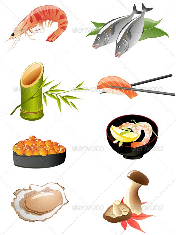 Sushi and Other Traditional Japanese Food Icons - Food Objects