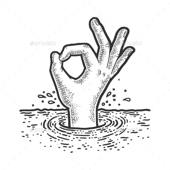 Drowning Man Shows Ok Sign Sketch Vector