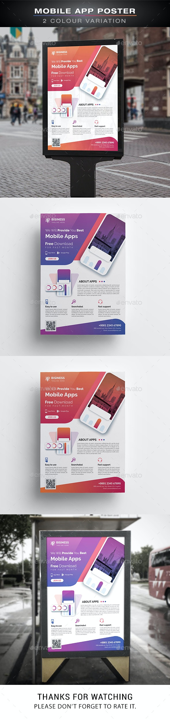 Mobile App Poster - Signage Print Templates