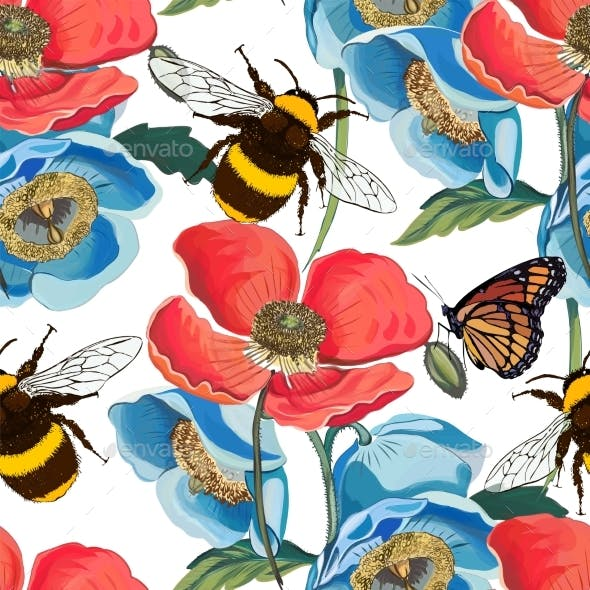 Vector Seamless Pattern of Red Poppy Flowers with