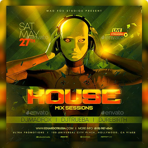 House Mix Sessions Party Flyer