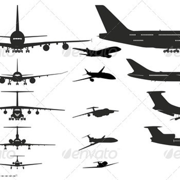 Airplanes Silhouettes Set.